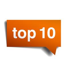 Top 10 orange speech bubble isolated on white vector