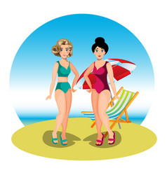 two young women friends at beach vector image