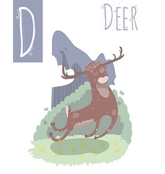 Vertical of deer with colorful background jumping vector