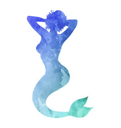 watercolor silhouette of a mermaid on white vector image