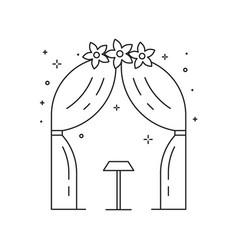 Wedding ceremony arch icon in line art vector