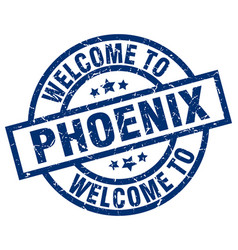 Welcome to phoenix blue stamp vector