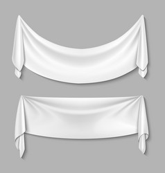 Wrinkled textile drape fabric empty white vector image