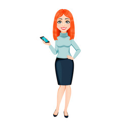 Young beautiful redhead business woman vector