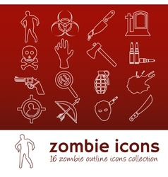 zombie outline icons vector image