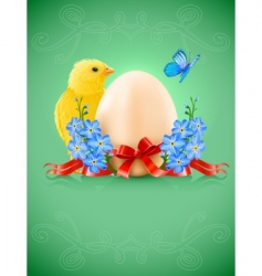 Easter card with egg chicken vector image