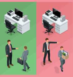isometric businessman is hired in an office and vector image vector image