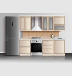 modern kitchen interior composition vector image vector image