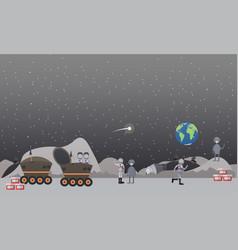 moon exploration concept flat vector image vector image