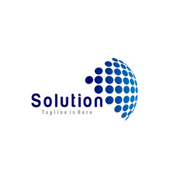 solution tech logo vector image vector image