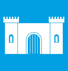 fortress with gate icon white vector image
