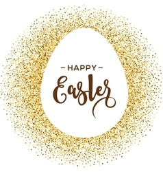 Happy Easter greeting card with gold egg vector image vector image