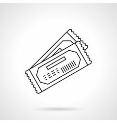 Movie tickets black flat line icon vector image