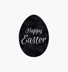 happy easter polygonal black egg isolated vector image vector image
