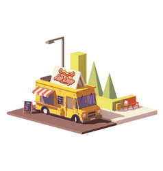 low poly hot dog food truck vector image vector image
