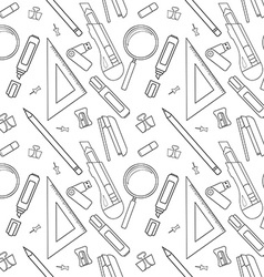 Stationery tools line art pattern vector image vector image