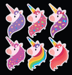 a set of portraits of unicorns in cartoon style a vector image vector image