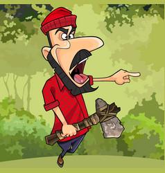 cartoon lumberjack with axe threatening finger vector image vector image