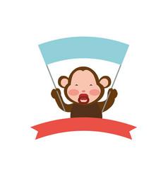 monkey cartoon banner holding animal vector image
