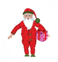 Santa claus in pajamas vector