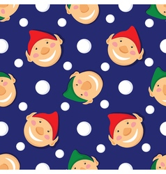Seamless christmas pattern with elves and vector image