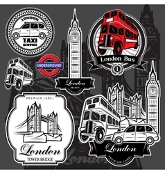set premium labels from London attractions vector image