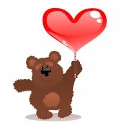 teddy bear and heart vector image vector image