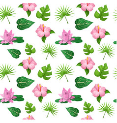 tropical flowers and leaves seamless pattern vector image