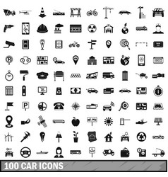 100 car icons set simple style vector