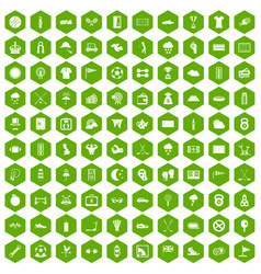 100 golf icons hexagon green vector