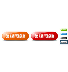 3rd anniversary button key sign push button set vector