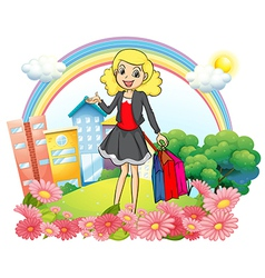 A woman with shopping paper bags vector image