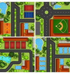 Aerial scenes with roads and sport courts vector