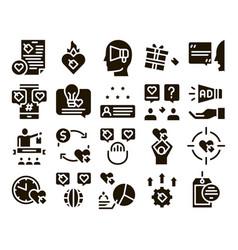 Ambassador creative glyph set vector