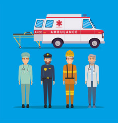 Ambulance paramedic police firefighter and doctor vector