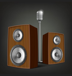 audio speakers and a microphone vector image