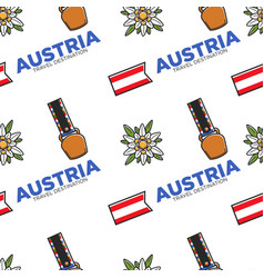 austria travel destination seamless pattern belt vector image