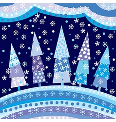 Background with Christmas trees and motifs under vector image