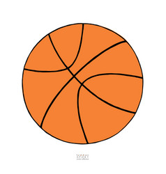 basketball ball on white background hand drawn vector image