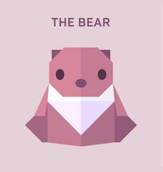 bear animals origami flat vector image