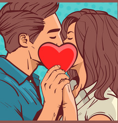 Beautiful couple kissing holding heart shape vector