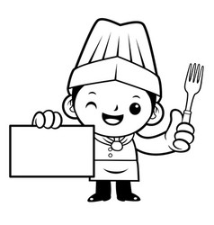 black and white executive chef mascot holding a vector image