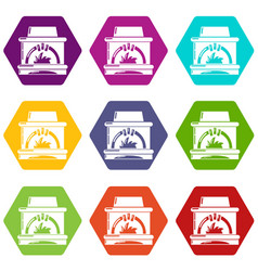 Blast furnace icons set 9 vector