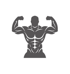 bodybuilder male silhouette isolated on white vector image