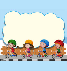 Border template with four kids riding bike vector
