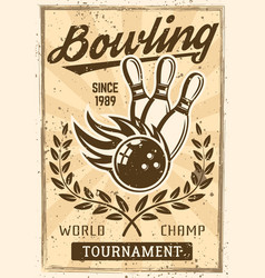 bowling vintage poster with burning ball skittles vector image