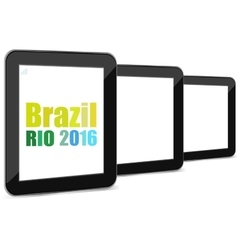 Brazil Rio 2016 Summer Games tablet pc set vector image