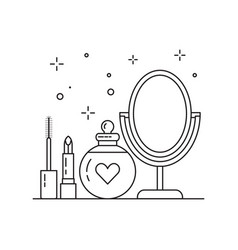 Bridal make up kit icon in line art vector