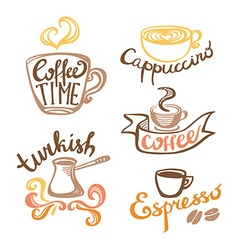 Coffee hand drawn labels logo template collection vector