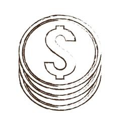 coin money dollar sketch vector image